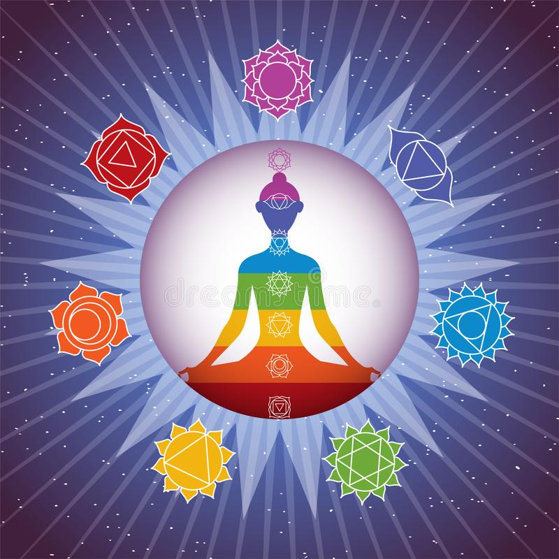 La silhouette méditante de fille de yoga avec des chakras signe en brillant le cercle coloré sur le fond étoilé de ciel illustration libre de droits