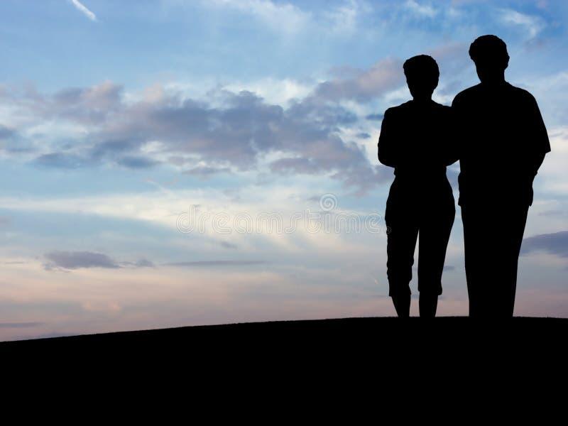 La silhouette N1 du couple images libres de droits