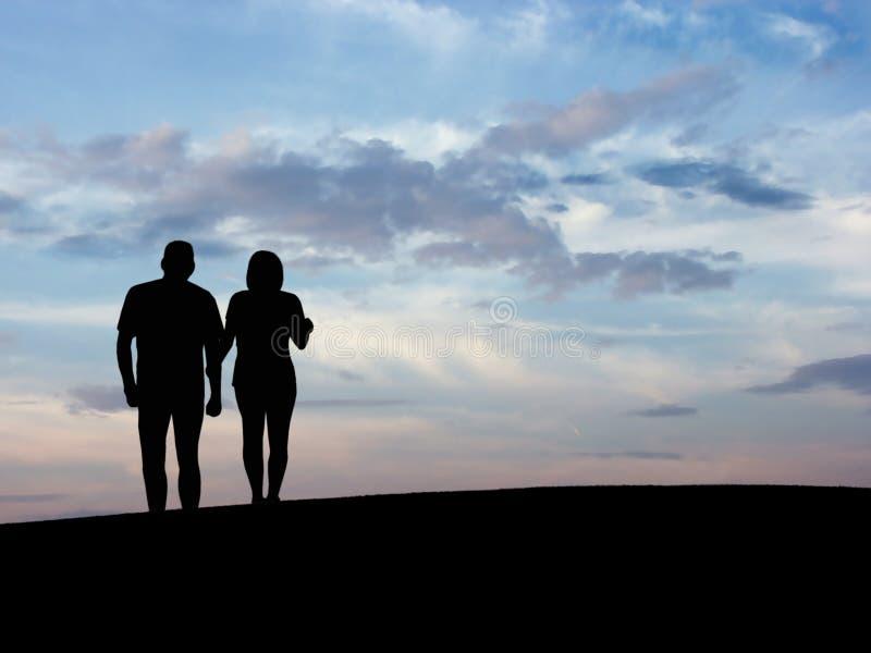 La silhouette N5 du couple image stock