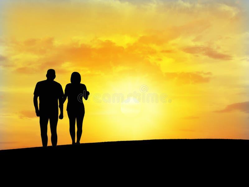 La silhouette N6 du couple photo stock