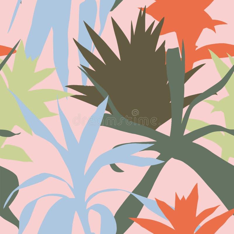 La silhouette plante le fond sans couture de feuilles roses illustration de vecteur