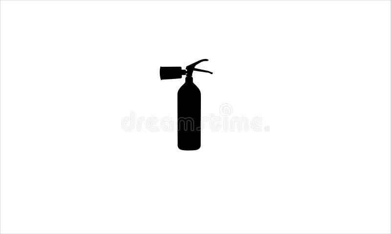 La silhouette réaliste de l'utilisation de maison d'extinguisherfor du feu illustration libre de droits
