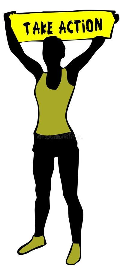 La silhouette sportive de femme tenant un signe jaune de bannière avec AGISSENT le texte illustration libre de droits