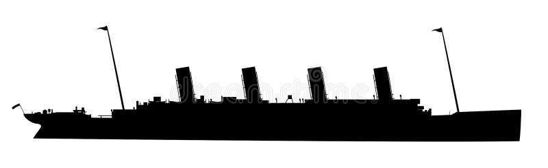 La silhouette titanique sur le blanc illustration de vecteur