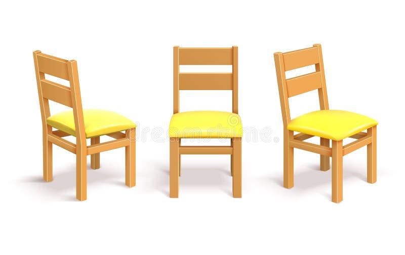 La silla de madera en diversa posición aisló el ejemplo del vector ilustración del vector