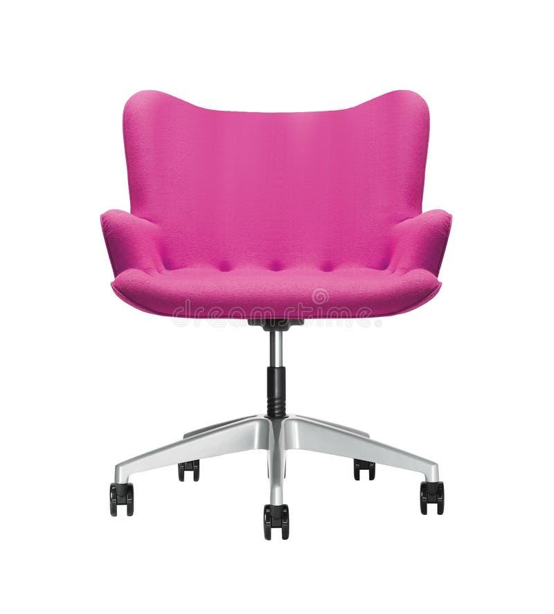 La silla de la oficina del cuero rosado aislado foto de archivo libre de regalías
