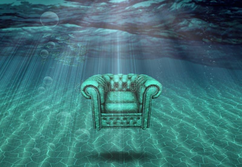 La silla del brazo flota en parte inferior de mar libre illustration