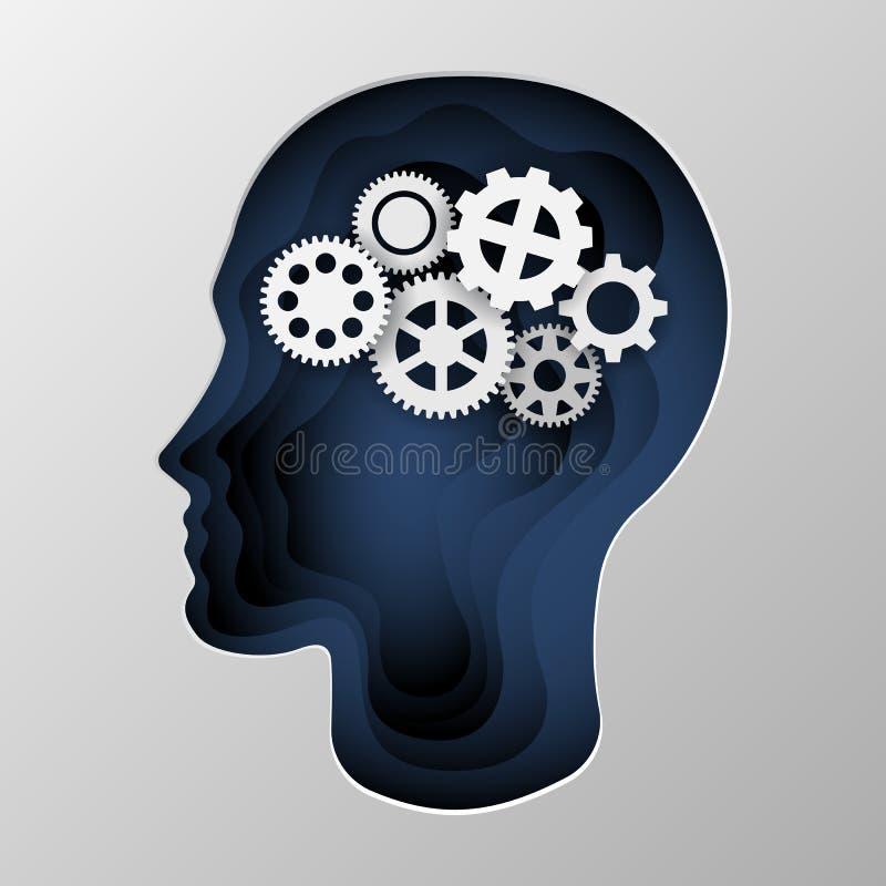 La silueta azul de una cabeza del hombre s talló en el papel ilustración del vector