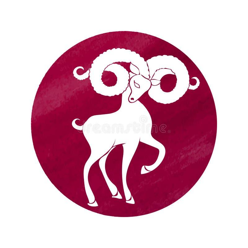 La silueta blanca del aries está en fondo rojo de la acuarela libre illustration