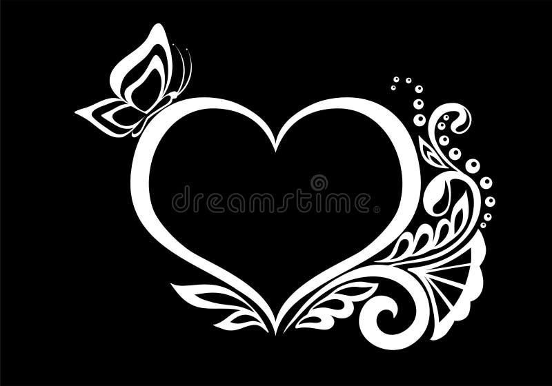 La silueta blanco y negro monocromática hermosa del corazón del cordón florece, los zarcillos y las hojas aislados libre illustration