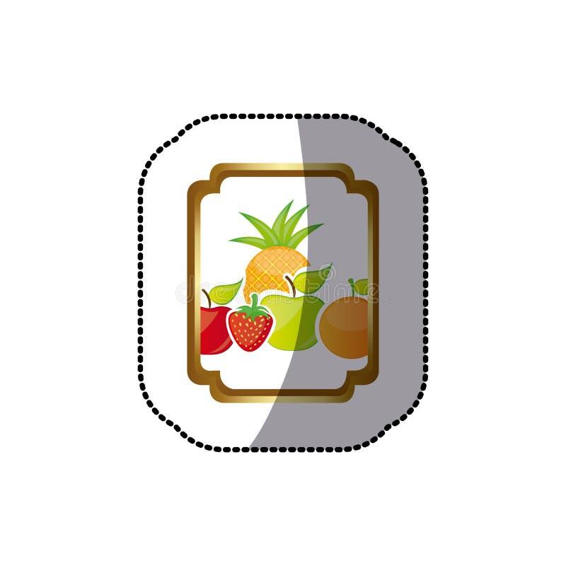 la silueta colorida de la etiqueta engomada curvó el marco heráldico decorativo del rectángulo con las frutas inmóviles de la vid libre illustration