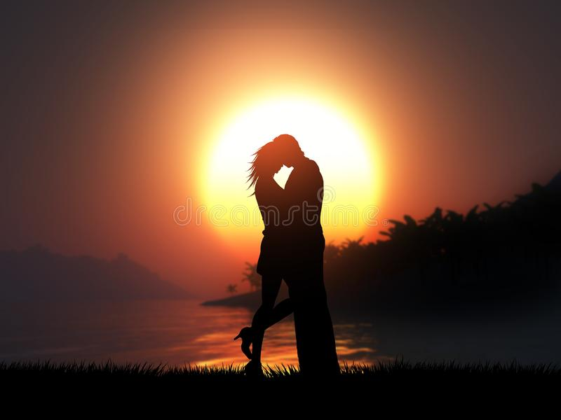 la silueta 3D de un par cariñoso contra una puesta del sol tropical aterriza libre illustration
