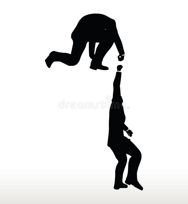 la silueta de dos hombres de negocios combina sostenerse encendido con una mano amiga ilustración del vector