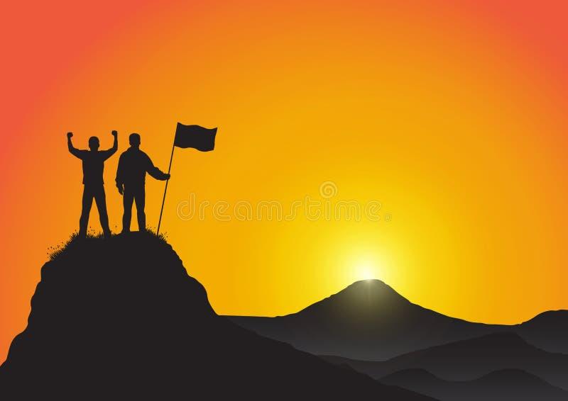 La silueta de dos hombres encima de la montaña con los puños aumentó para arriba y sosteniendo la bandera, éxito, logro, victoria stock de ilustración
