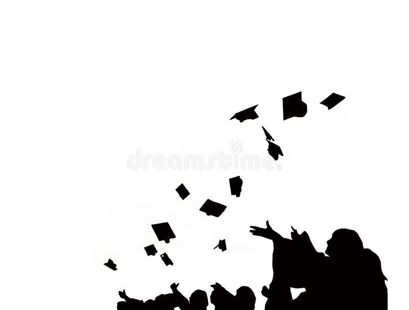 La silueta de estudiantes de tercer ciclo lanza birretes en ceremonia del éxito de la graduación de la universidad Enhorabuena en ilustración del vector