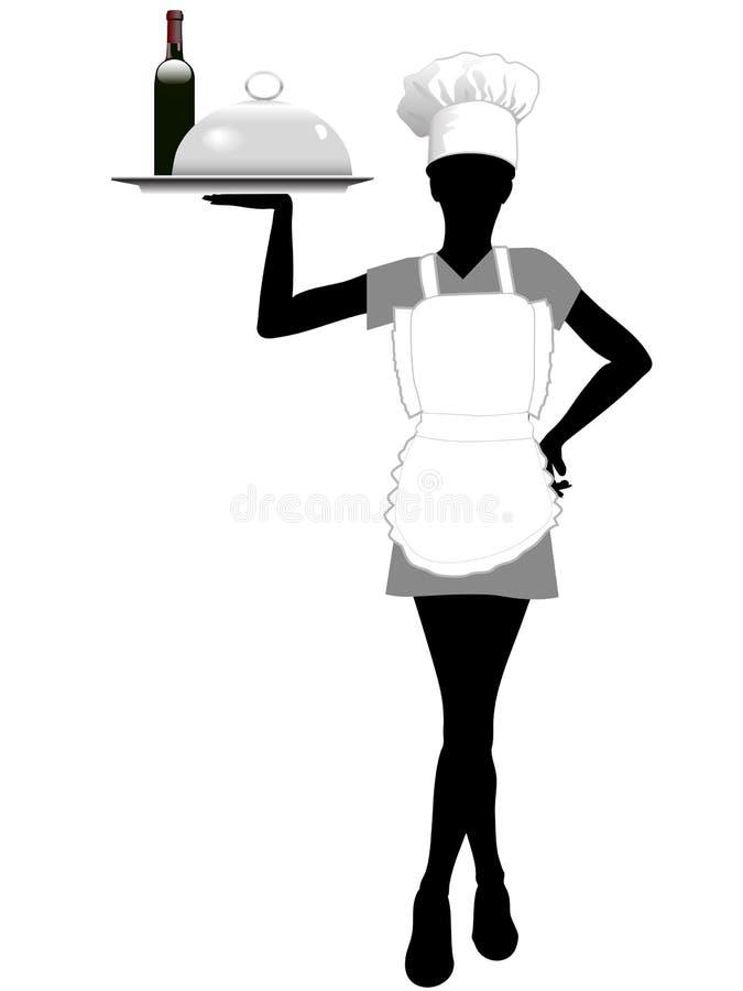 La silueta de la camarera en sombrero del cocinero sostiene la bandeja de la porción ilustración del vector