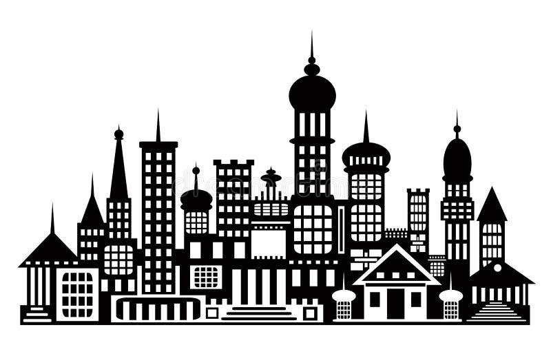 La silueta de la ciudad Templos, edificios aislados en blanco ilustración del vector