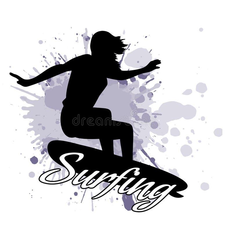 La silueta de la muchacha de la persona que practica surf contra la perspectiva de salpica en grunge del estilo stock de ilustración
