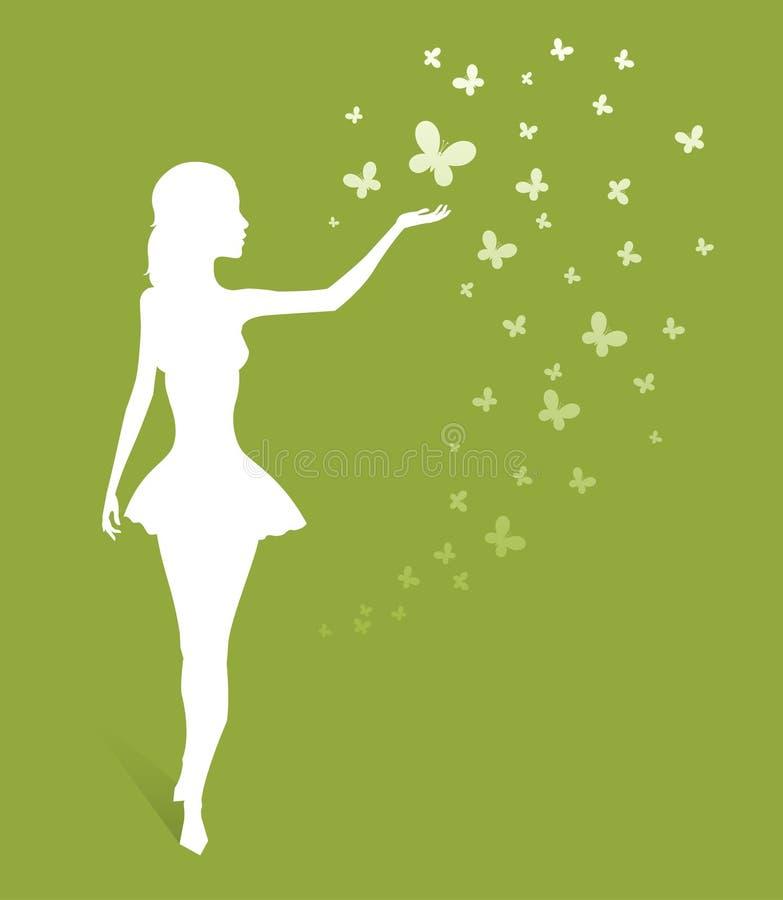 La silueta de la mujer en verde libre illustration
