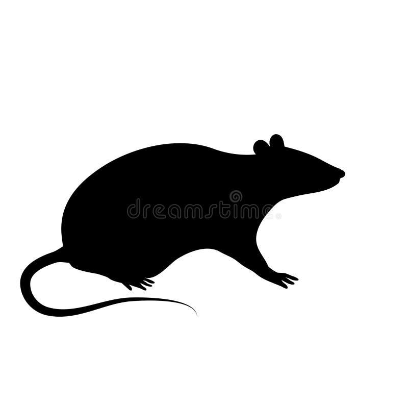 La silueta de la rata o del ratón se está sentando en un fondo blanco stock de ilustración