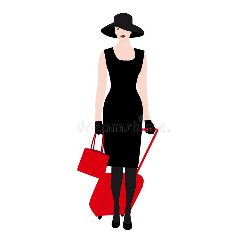 La silueta de las mujeres jovenes, caminando con la maleta roja Señora elegante elegante en un sombrero Viaje de las vacaciones d stock de ilustración