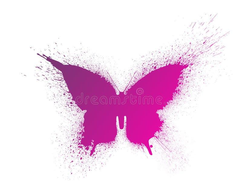 La silueta de la mariposa con la pintura salpica y borra con una pendiente brillante hermosa, aislada en un fondo blanco stock de ilustración