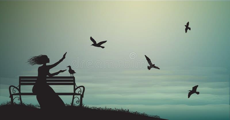 La silueta de la muchacha que se sienta en el banco cerca del mar con salida del sol y alimenta las gaviotas, sombras, memorias, libre illustration