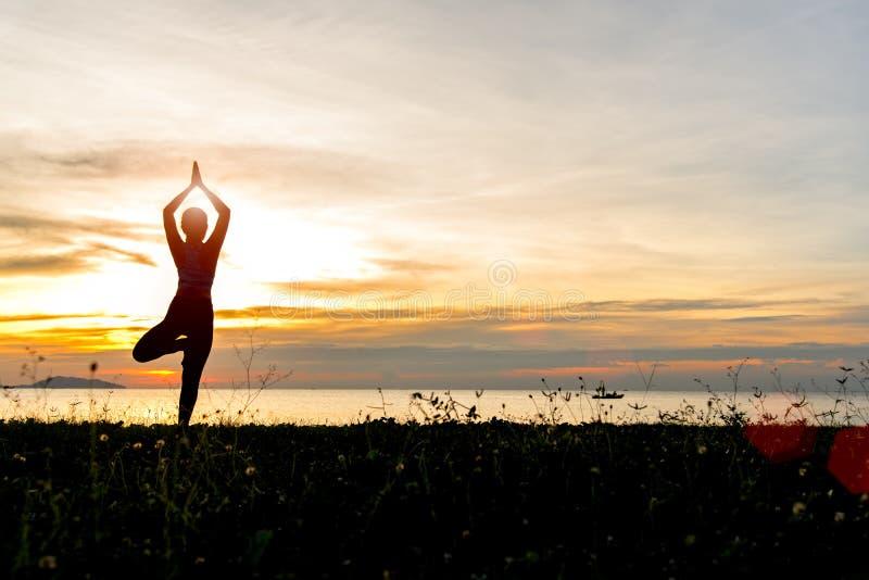 La silueta de la mujer de la forma de vida de la yoga de la meditación en la puesta del sol del mar, relaja vital fotos de archivo