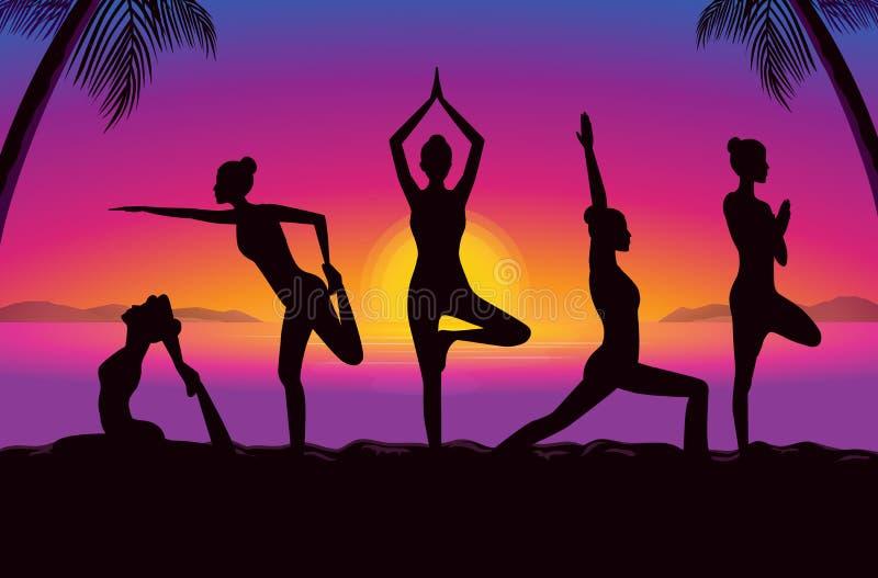 La silueta de mujeres agrupa el planteamiento de diversa postura de la yoga ilustración del vector