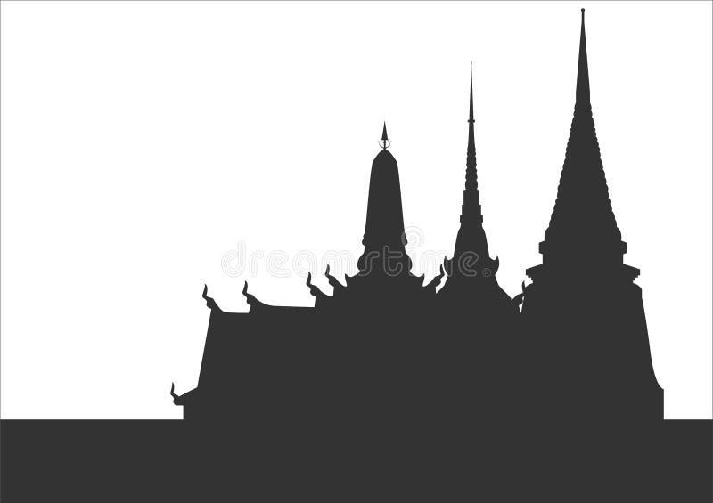 La silueta de templos tailandeses el templo es única en Tailandia libre illustration
