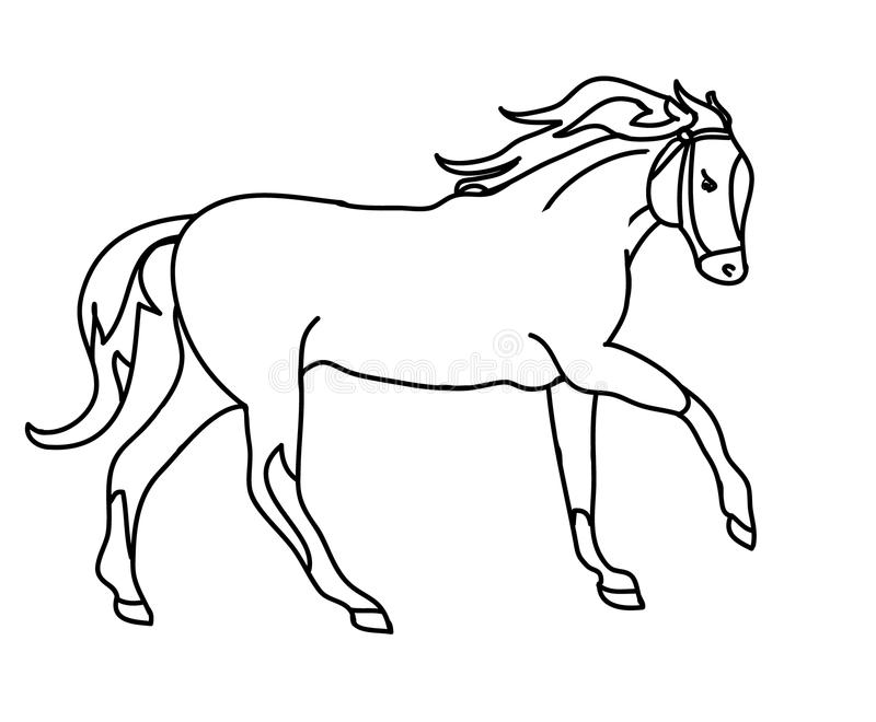 La silueta de un galope ( del caballo; outline) negro; stock de ilustración