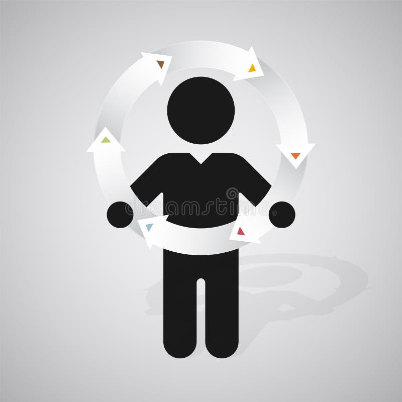 la silueta de un hombre sostiene la rueda de flechas ilustración del vector