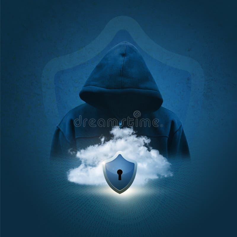 La silueta de un pirata informático en el fondo de datos seguros se nubla ilustración del vector