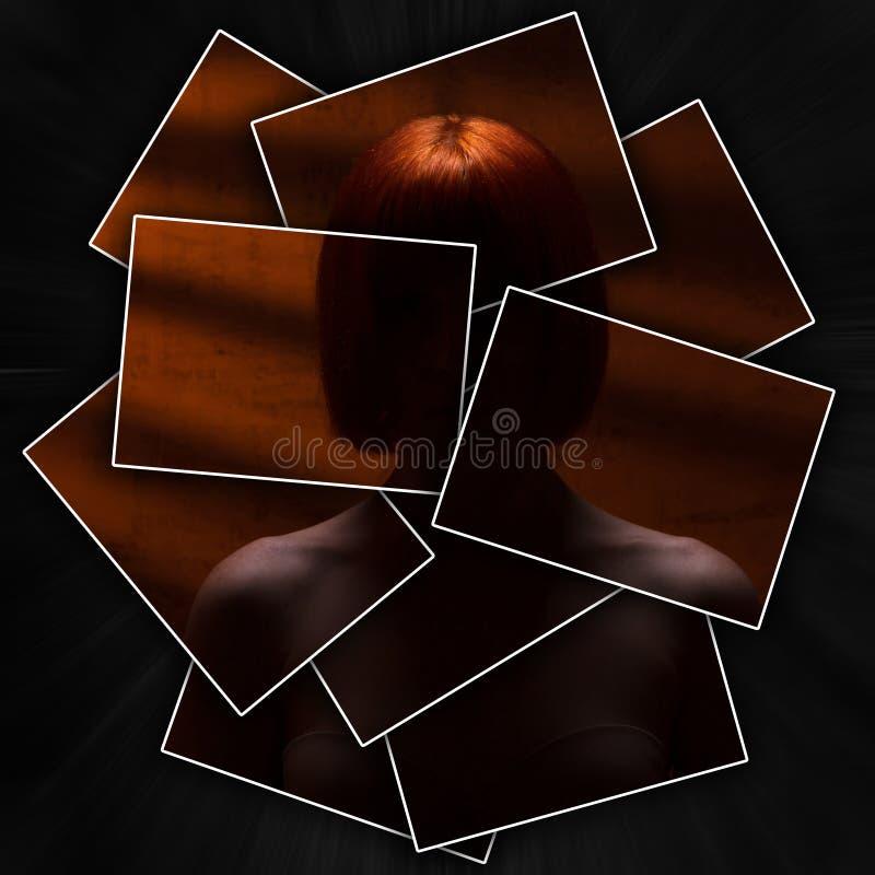 La silueta de una mujer pelirroja misteriosa con los hombros desnudos, del retrato de una muchacha incógnita, de la cara o del cu fotografía de archivo libre de regalías