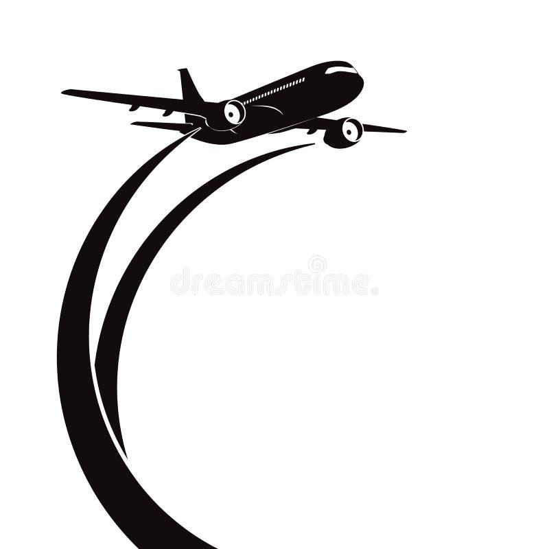 La silueta del aeroplano en el fondo blanco. stock de ilustración