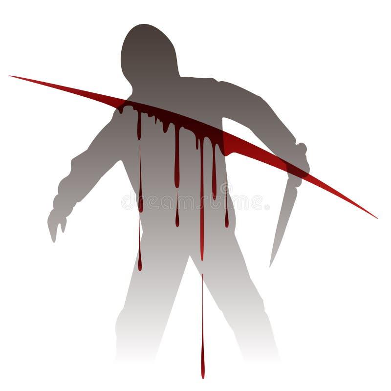 La silueta del asesino contra sangre salpica stock de ilustración