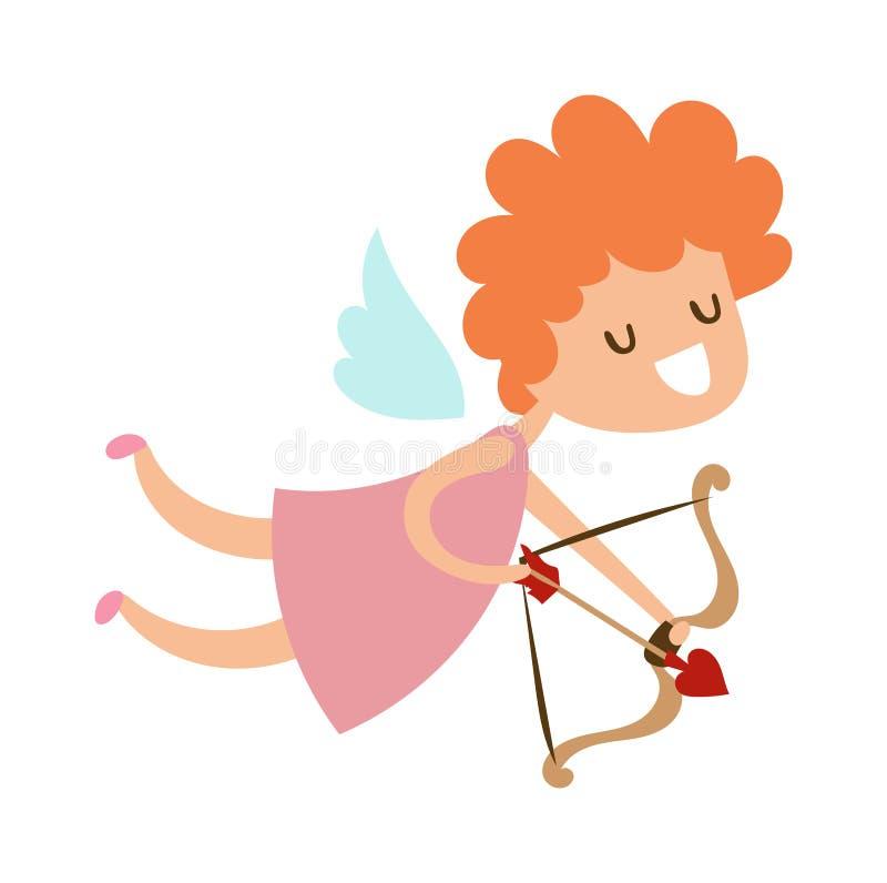 La silueta del bebé lindo de la tarjeta del día de San Valentín del vuelo del ángel del cupido de la historieta con las alas vect ilustración del vector