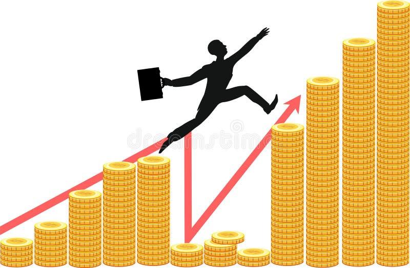 La silueta del hombre de negocios salta sobre abismo financiero libre illustration