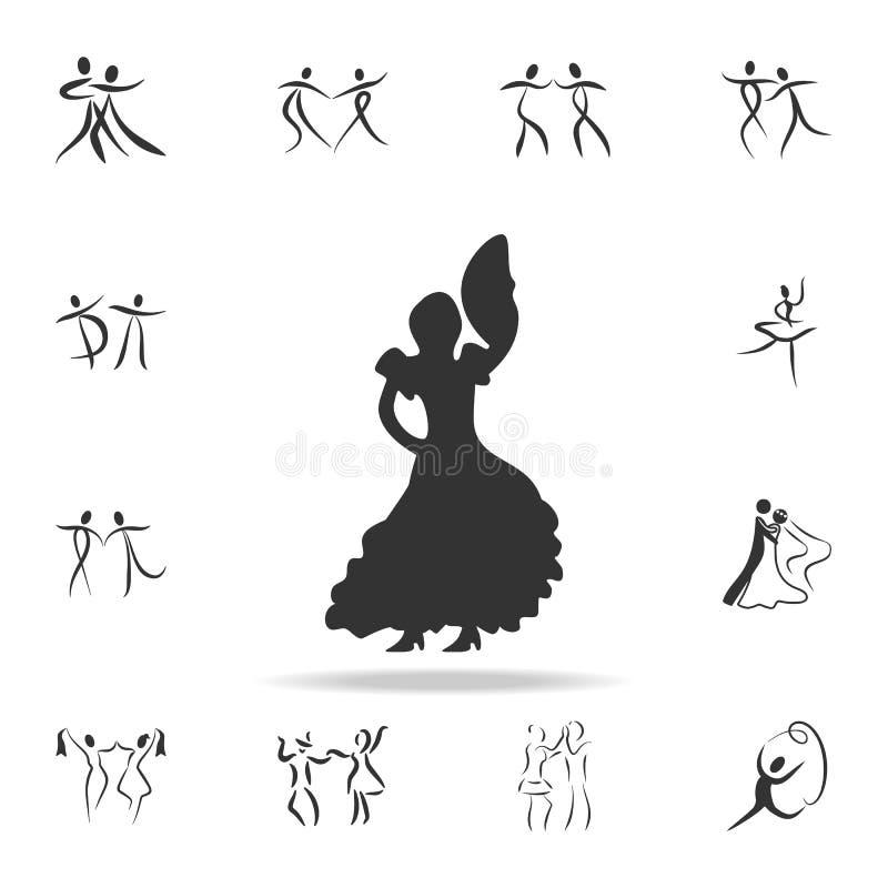 La silueta del icono del flamenco Sistema de gente en iconos del elemento de la danza Diseño gráfico de la calidad superior Muest ilustración del vector
