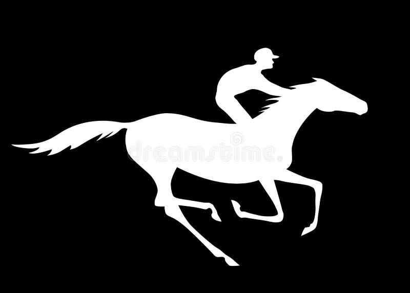 La silueta del jinete y del caballo con galope indica en fondo negro libre illustration