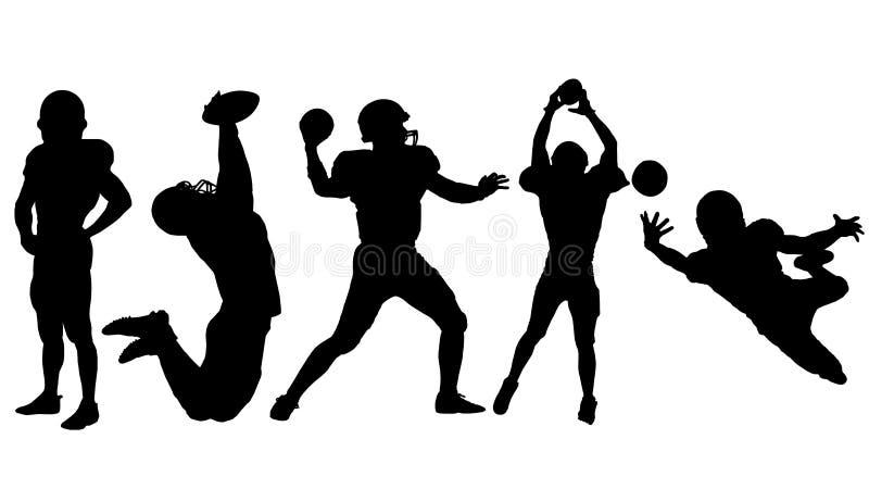 La silueta del jugador de fútbol americano coloca o lanza o coge la bola en un salto ilustración del vector