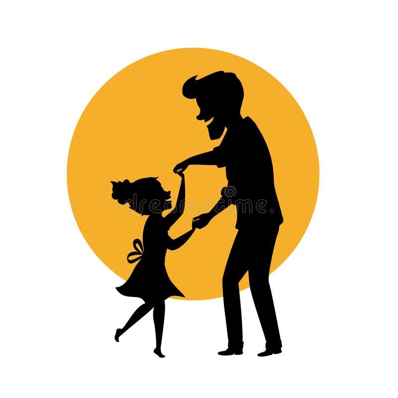 La silueta del padre y de la hija que bailan junta sostenerse da el ejemplo aislado del vector stock de ilustración