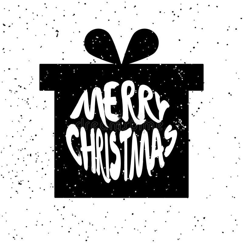 La silueta del regalo del ` s del Año Nuevo con Feliz Navidad del texto de las letras en el fondo blanco con salpica libre illustration