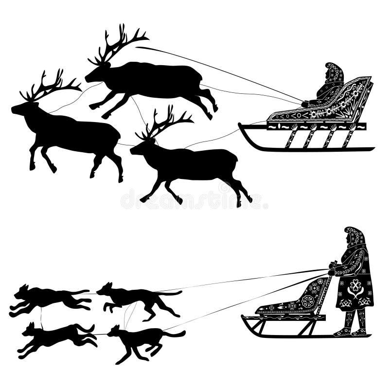La silueta del trineo y del trineo tiró por el reno y los perros ilustración del vector