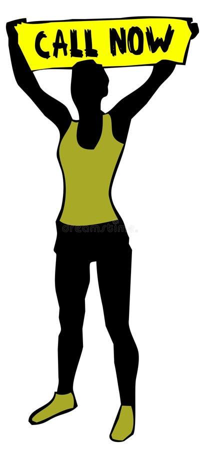 La silueta deportiva de la mujer que lleva a cabo una muestra amarilla de la bandera con LLAMADA AHORA manda un SMS stock de ilustración
