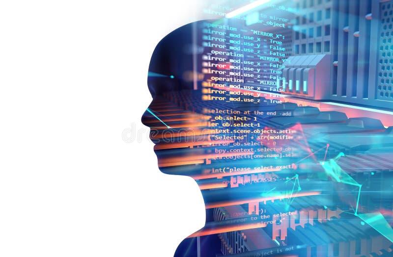 La silueta humana virtual en el servidor atormenta en datacenter illus 3d stock de ilustración