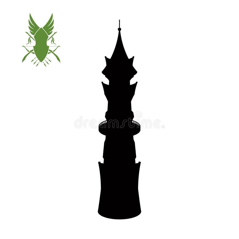 La silueta negra de elven la torre Palacio de la fantasía de elfs Atalaya medieval de Archer Ciudadela mágica Icono de la fortale stock de ilustración