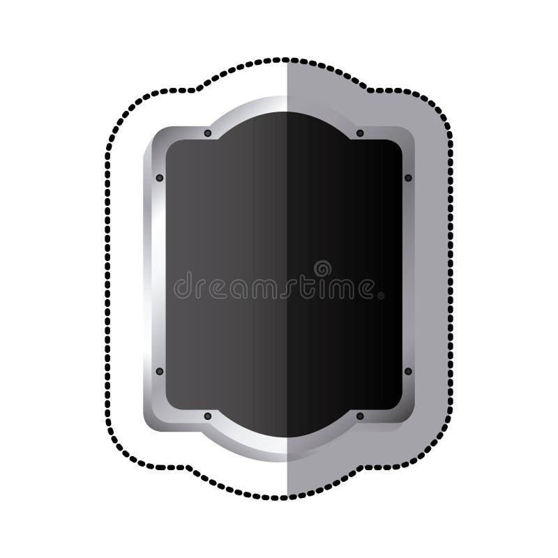 la silueta negra de la etiqueta engomada redondeó alivio decorativo heráldico elegante del marco del rectángulo ilustración del vector