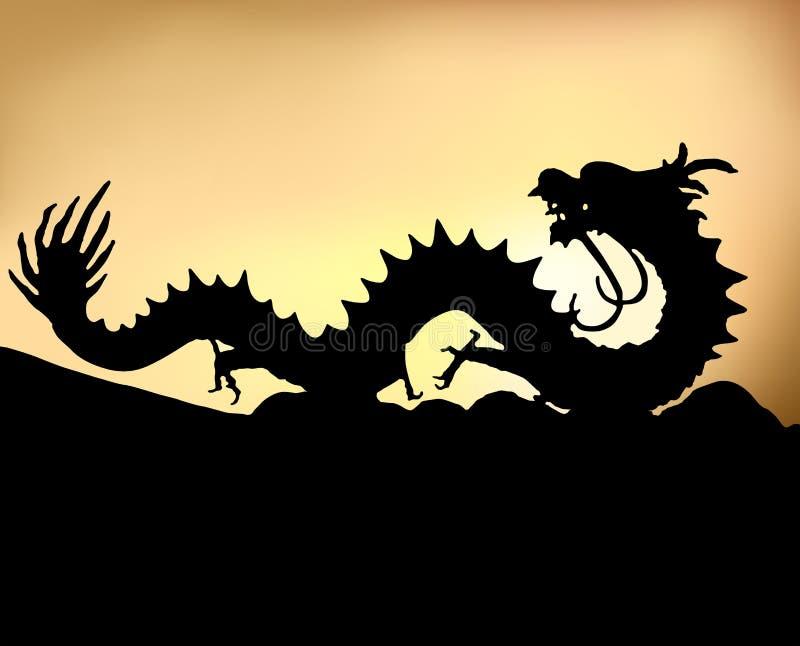 La silueta negra de un dragón chino en fondo de la puesta del sol stock de ilustración