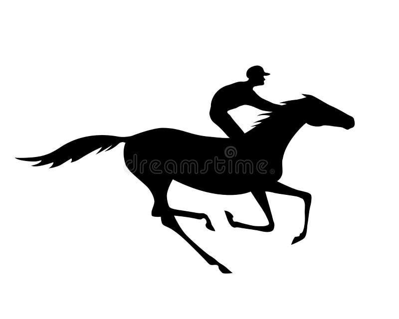 La silueta negra del jinete y del caballo con galope indica en blanco ilustración del vector